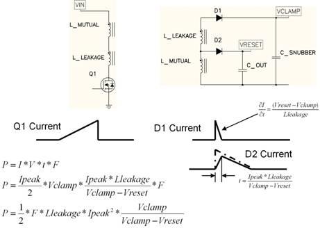 漏极电感的电压是钳位电压和重位电压之间的差