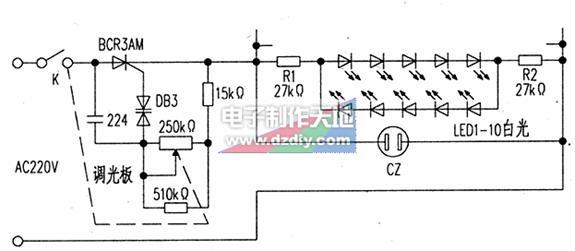 电位器控制led的亮度电路图