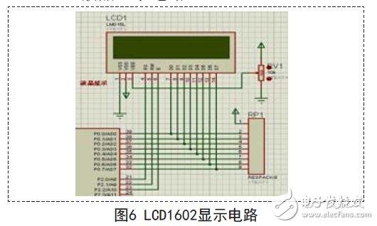 图6为lcd1602和单片机的连接电路